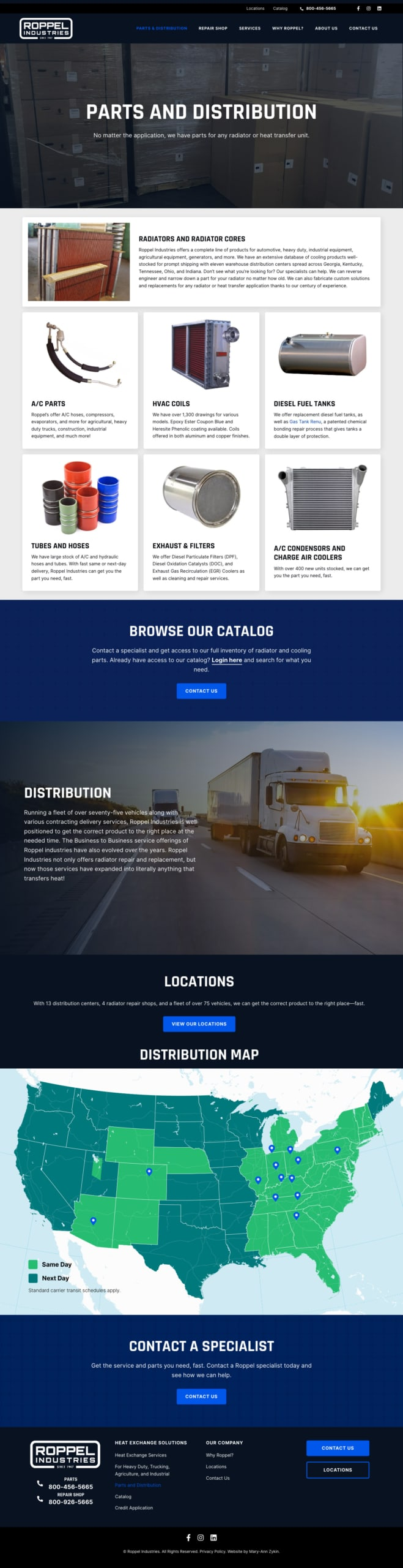 Roppel Industries Parts & Distribution Page