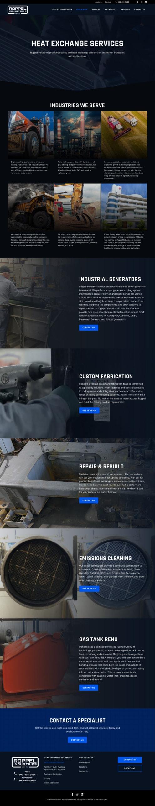 Roppel Industries Repair Shop Page