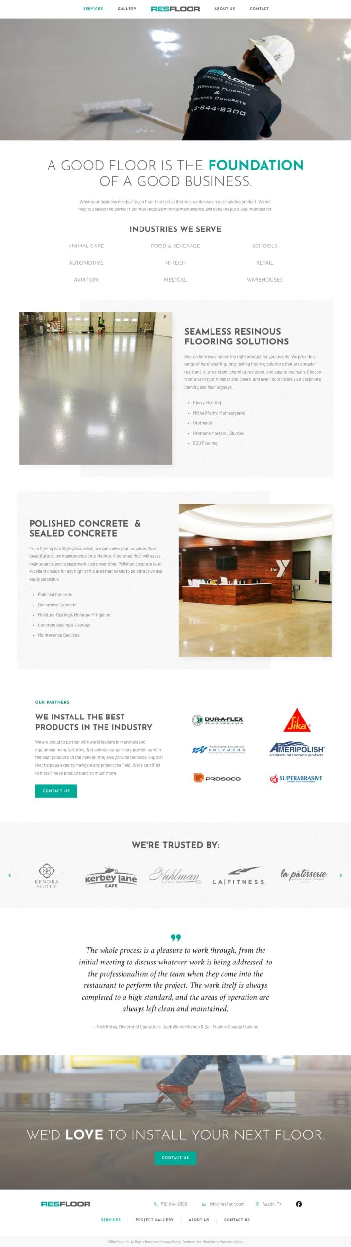 Resfloor Services Page